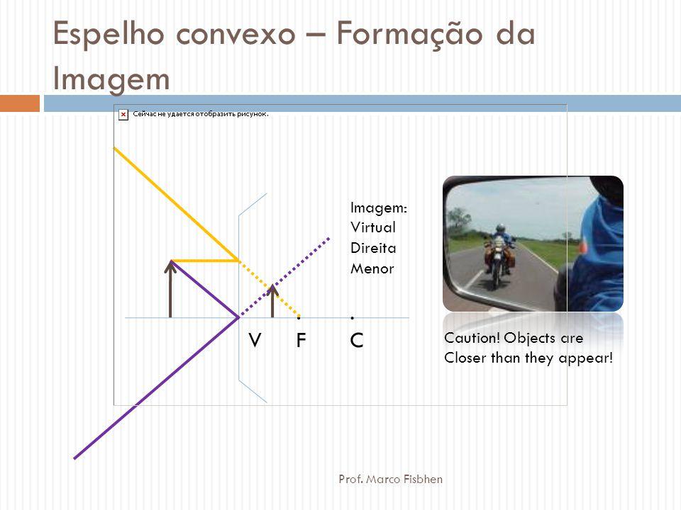 Espelho convexo – Formação da Imagem.F.F.C.C. V Imagem: Virtual Direita Menor Caution! Objects are Closer than they appear! Prof. Marco Fisbhen