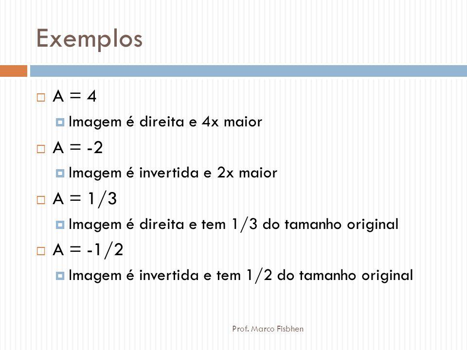 Exemplos  A = 4  Imagem é direita e 4x maior  A = -2  Imagem é invertida e 2x maior  A = 1/3  Imagem é direita e tem 1/3 do tamanho original  A
