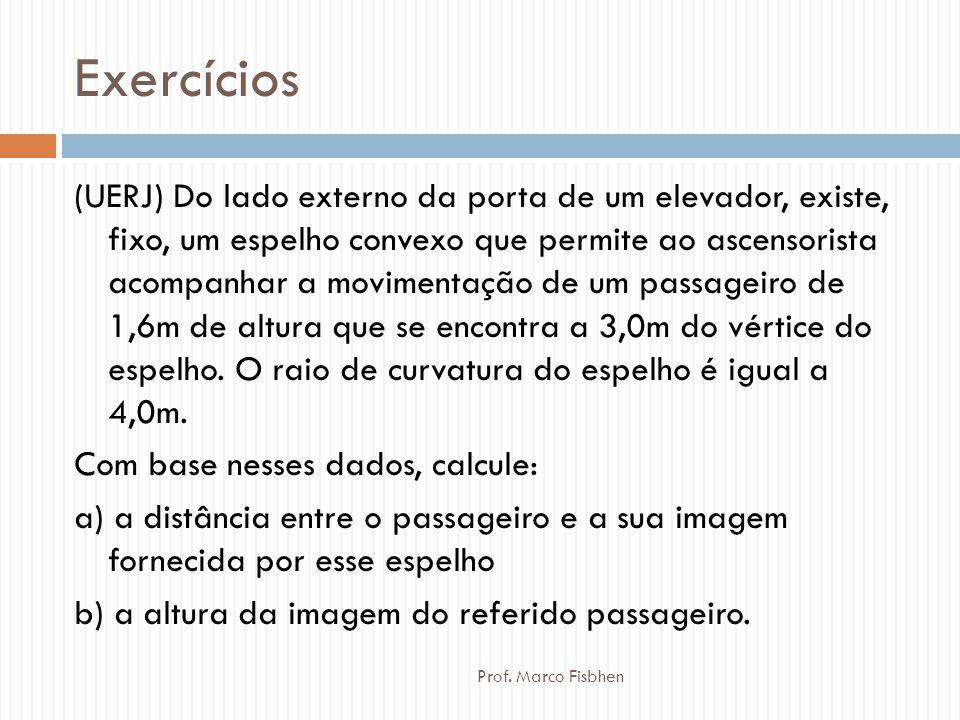 Exercícios Prof. Marco Fisbhen (UERJ) Do lado externo da porta de um elevador, existe, fixo, um espelho convexo que permite ao ascensorista acompanhar