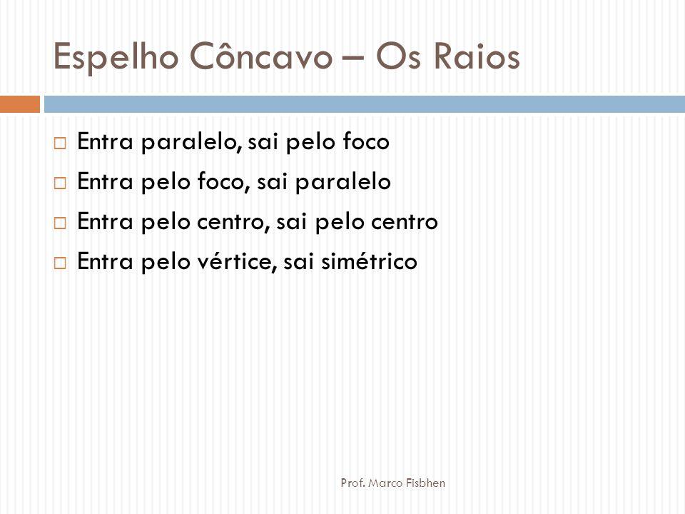 Espelho Côncavo – Os Raios  Entra paralelo, sai pelo foco  Entra pelo foco, sai paralelo  Entra pelo centro, sai pelo centro  Entra pelo vértice,