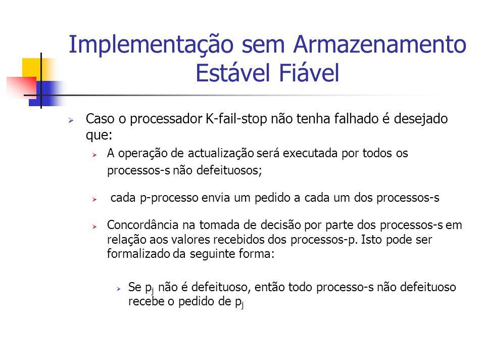 Implementação sem Armazenamento Estável Fiável  Caso o processador K-fail-stop não tenha falhado é desejado que:  A operação de actualização será ex