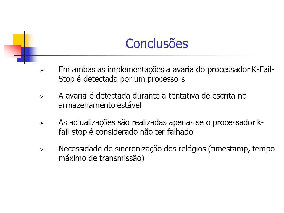 Conclusões  Em ambas as implementações a avaria do processador K-Fail- Stop é detectada por um processo-s  A avaria é detectada durante a tentativa