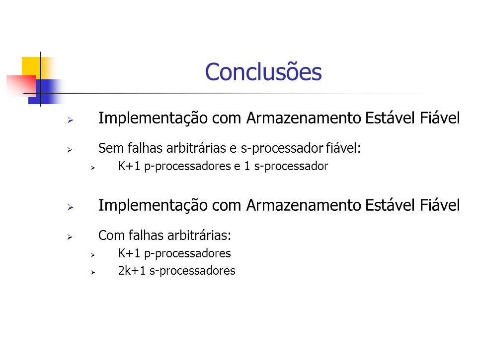 Conclusões  Implementação com Armazenamento Estável Fiável  Sem falhas arbitrárias e s-processador fiável:  K+1 p-processadores e 1 s-processador  Implementação com Armazenamento Estável Fiável  Com falhas arbitrárias:  K+1 p-processadores  2k+1 s-processadores