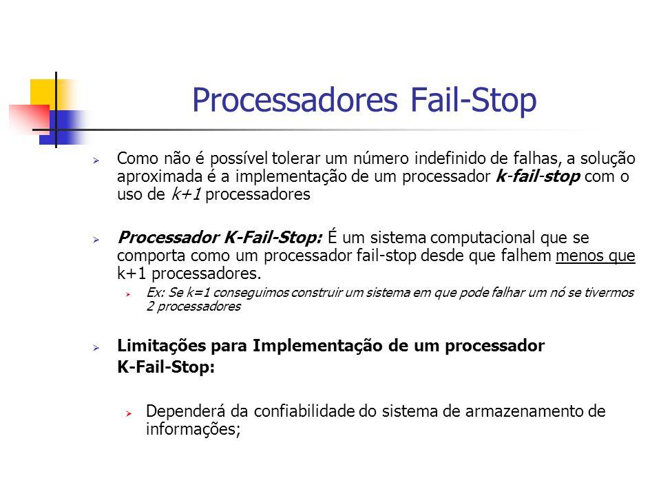 Processadores Fail-Stop  Como não é possível tolerar um número indefinido de falhas, a solução aproximada é a implementação de um processador k-fail-stop com o uso de k+1 processadores  Processador K-Fail-Stop: É um sistema computacional que se comporta como um processador fail-stop desde que falhem menos que k+1 processadores.
