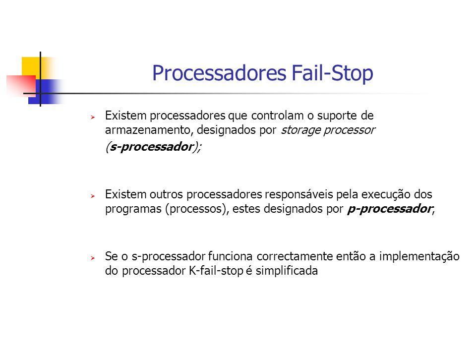 Processadores Fail-Stop  Duas maneiras de Implementação de um processador K-Fail-Stop:  Implementação com Armazenamento Estável Fiável (caso em que se assume que o s-processor nao falha)  Implementação com Armazenamento Estável Não Fiável (caso em que se assume que o s-processor pode falhar)
