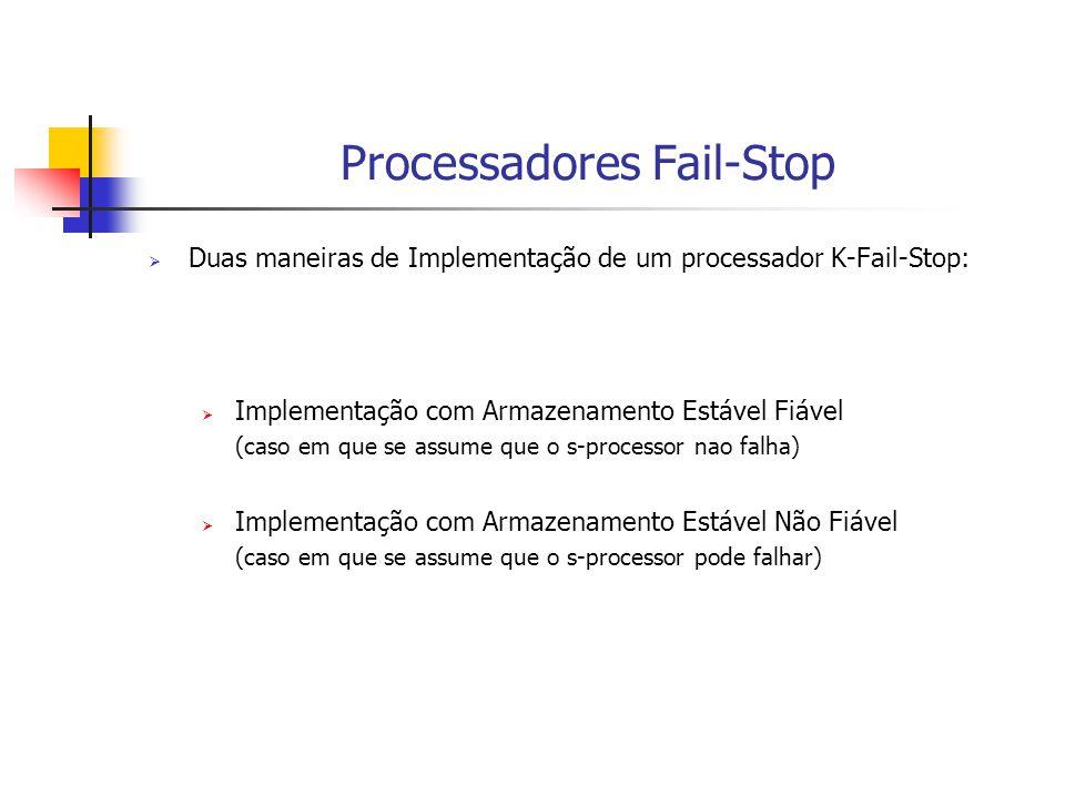 Processadores Fail-Stop  Duas maneiras de Implementação de um processador K-Fail-Stop:  Implementação com Armazenamento Estável Fiável (caso em que