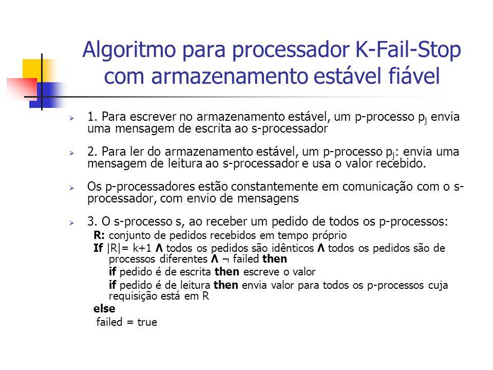 Comentários sobre o Algoritmo  S-processo só executa a operação na memória estável se o processador K-Fail-Stop não falhou  No caso de todos falharem de maneira maliciosa o armazenamento estável pode escrever esse valor como correcto, mas para tal, TODOS os p-processos precisam de escrever o mesmo valor incorrecto!