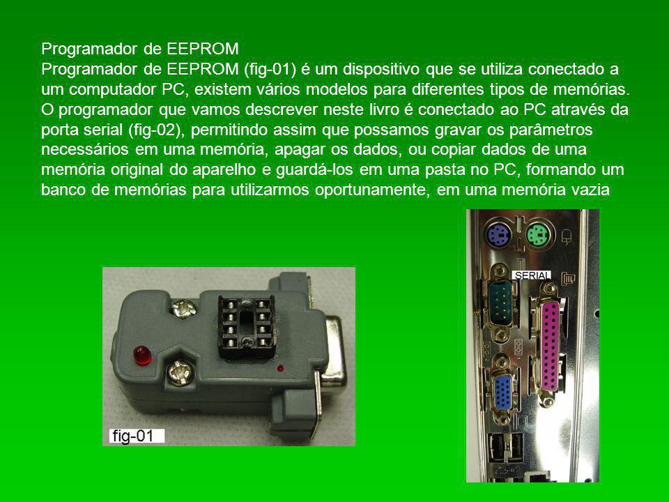 Programador de EEPROM Programador de EEPROM (fig-01) é um dispositivo que se utiliza conectado a um computador PC, existem vários modelos para diferen