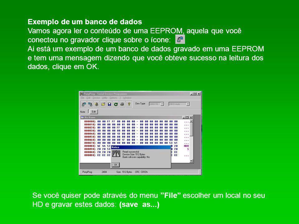 Exemplo de um banco de dados Vamos agora ler o conteúdo de uma EEPROM, aquela que você conectou no gravador clique sobre o ícone: Ai está um exemplo d