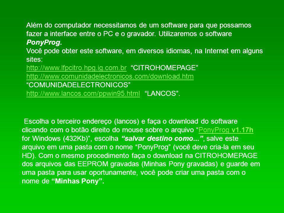 No site da LANCOS você pode fazer o download de uma versão experimental do PonyProg que vem em Português, vá até lá e copie para seu PC o arquivo : Brazilian binary executable only (experimental) (170Kb) Brazilian Esta versão bem mais simples não necessita de instalação, apenas crie uma pasta para o BrazilianPony, descompacte o arquivo.
