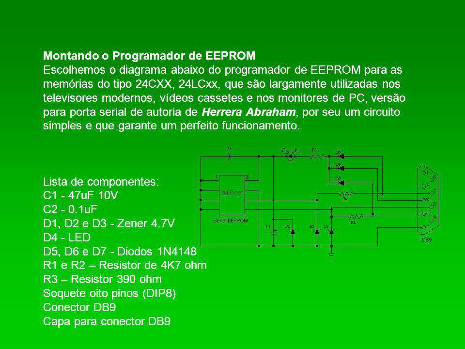 Montando o Programador de EEPROM Escolhemos o diagrama abaixo do programador de EEPROM para as memórias do tipo 24CXX, 24LCxx, que são largamente util