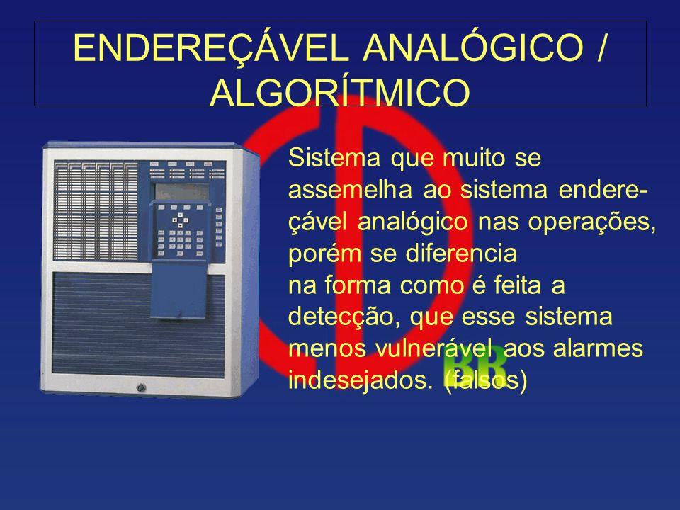 ENDEREÇÁVEL ANALÓGICO / ALGORÍTMICO Sistema que muito se assemelha ao sistema endere- çável analógico nas operações, porém se diferencia na forma como