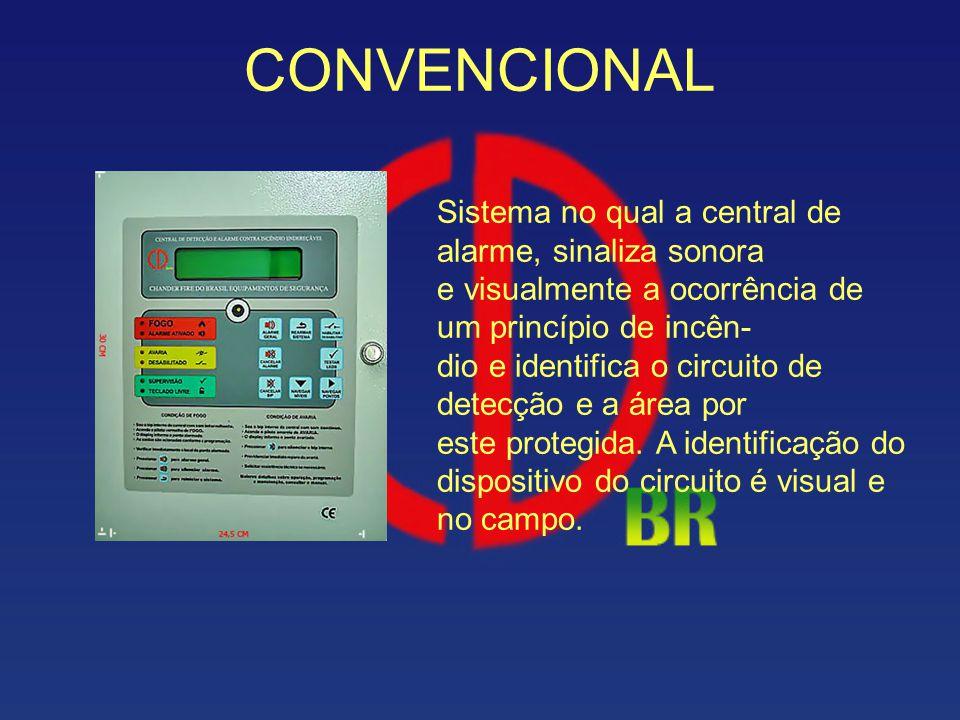 CONVENCIONAL Sistema no qual a central de alarme, sinaliza sonora e visualmente a ocorrência de um princípio de incên- dio e identifica o circuito de
