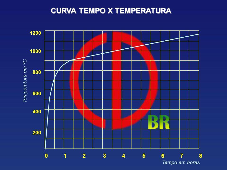 0 1 2 3 4 5 6 7 8 1200 1000 800 600 400 200 Tempo em horas Temperatura em ºC CURVA TEMPO X TEMPERATURA