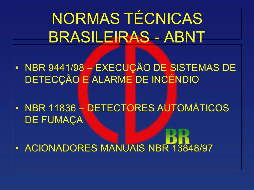 NORMAS TÉCNICAS BRASILEIRAS - ABNT NBR 9441/98 – EXECUÇÃO DE SISTEMAS DE DETECÇÃO E ALARME DE INCÊNDIO NBR 11836 – DETECTORES AUTOMÁTICOS DE FUMAÇA AC