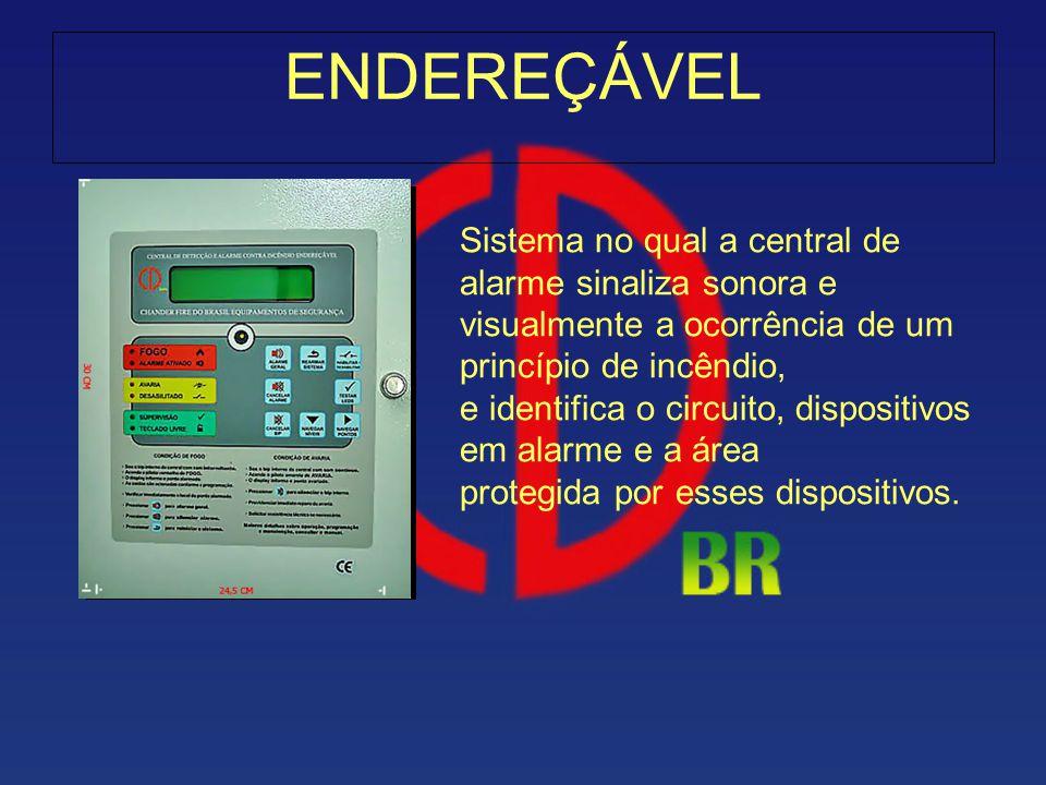 ENDEREÇÁVEL Sistema no qual a central de alarme sinaliza sonora e visualmente a ocorrência de um princípio de incêndio, e identifica o circuito, dispo