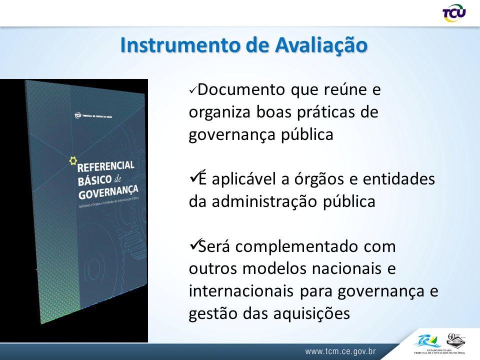 Instrumento de Avaliação Documento que reúne e organiza boas práticas de governança pública É aplicável a órgãos e entidades da administração pública Será complementado com outros modelos nacionais e internacionais para governança e gestão das aquisições