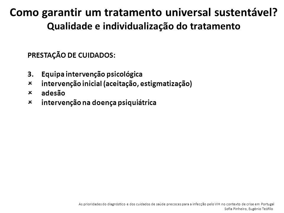 PRESTAÇÃO DE CUIDADOS: 3.Equipa intervenção psicológica  intervenção inicial (aceitação, estigmatização)  adesão  intervenção na doença psiquiátrica Como garantir um tratamento universal sustentável.