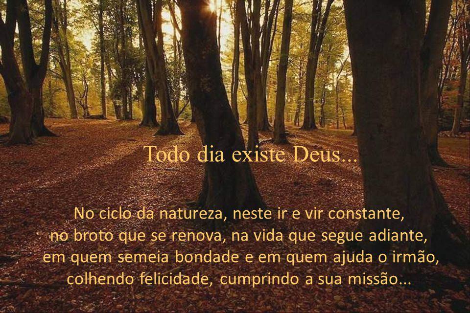 No ciclo da natureza, neste ir e vir constante, no broto que se renova, na vida que segue adiante, em quem semeia bondade e em quem ajuda o irmão, colhendo felicidade, cumprindo a sua missão...