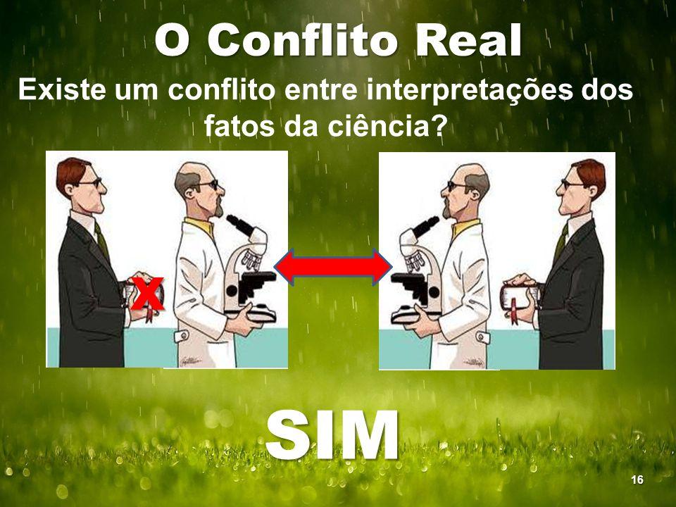 O Conflito Real Existe um conflito entre interpretações dos fatos da ciência? X SIM 16