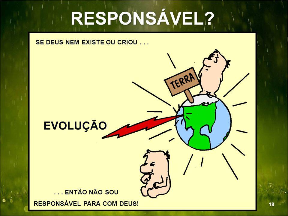 RESPONSÁVEL? SE DEUS NEM EXISTE OU CRIOU... EVOLUÇÃO... ENTÃO NÃO SOU RESPONSÁVEL PARA COM DEUS! 18