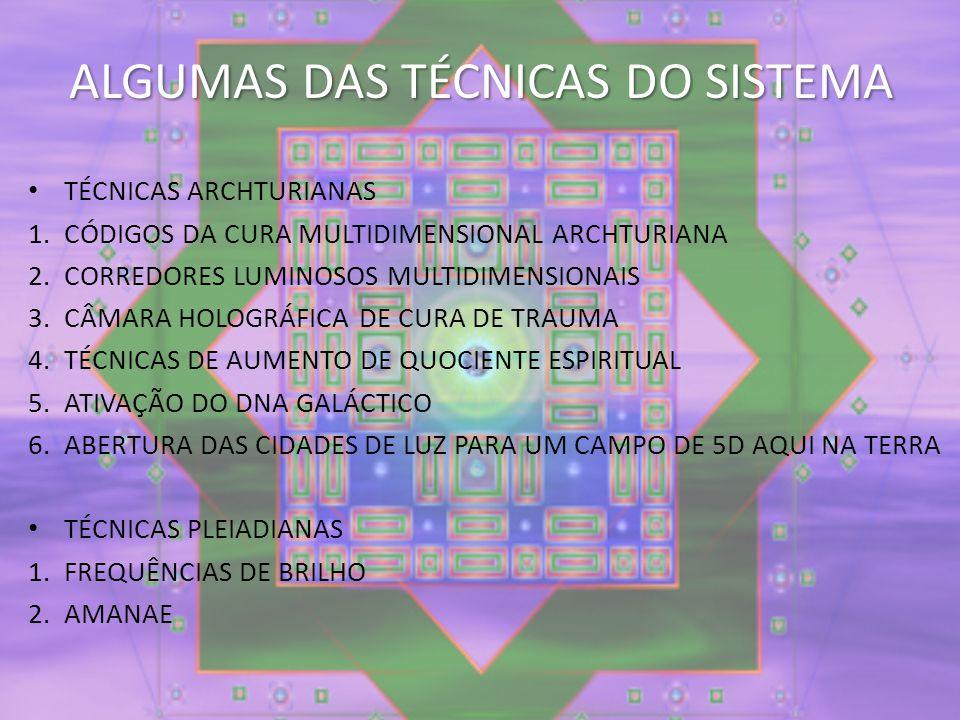 ALGUMAS DAS TÉCNICAS DO SISTEMA TÉCNICAS ARCHTURIANAS 1.CÓDIGOS DA CURA MULTIDIMENSIONAL ARCHTURIANA 2.CORREDORES LUMINOSOS MULTIDIMENSIONAIS 3.CÂMARA