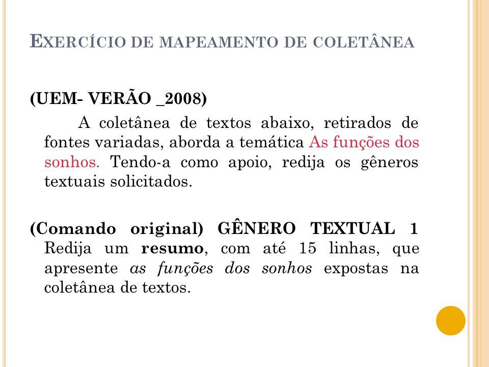 E XERCÍCIO DE MAPEAMENTO DE COLETÂNEA (UEM- VERÃO _2008) A coletânea de textos abaixo, retirados de fontes variadas, aborda a temática As funções dos sonhos.
