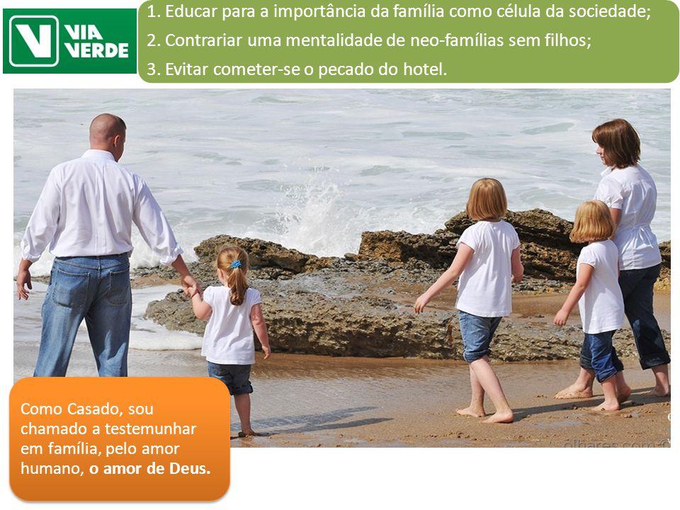 1. Educar para a importância da família como célula da sociedade; 2. Contrariar uma mentalidade de neo-famílias sem filhos; 3. Evitar cometer-se o pec