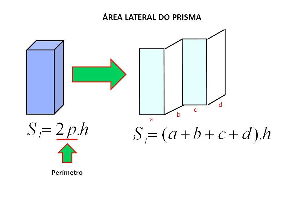 ÁREA LATERAL DO PRISMA Perímetro a b c d