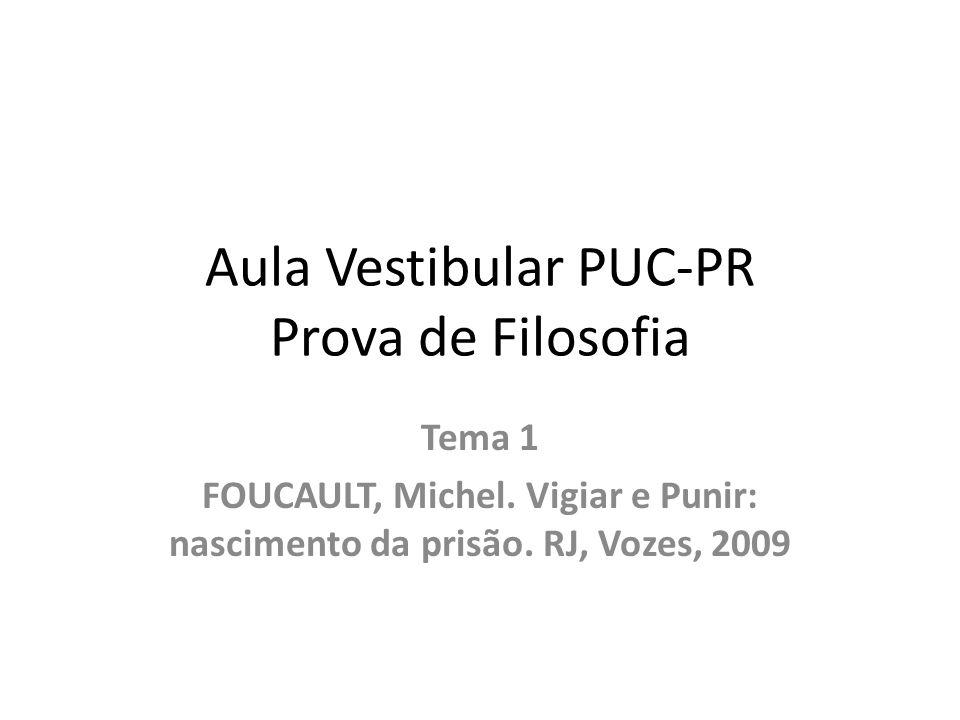 Aula Vestibular PUC-PR Prova de Filosofia Tema 1 FOUCAULT, Michel. Vigiar e Punir: nascimento da prisão. RJ, Vozes, 2009