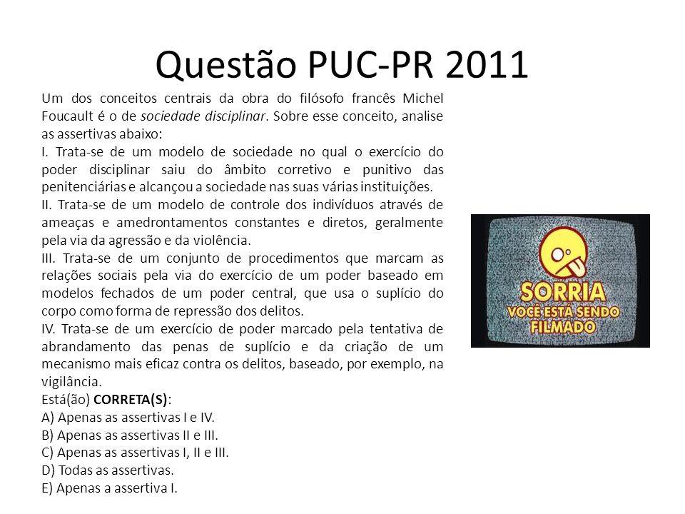 Questão PUC-PR 2011 Um dos conceitos centrais da obra do filósofo francês Michel Foucault é o de sociedade disciplinar. Sobre esse conceito, analise a