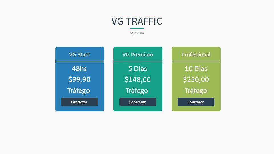 48hs $99,90 Tráfego VG Start Contratar 5 Dias $148,00 Tráfego VG Premium Contratar 10 Dias $250,00 Tráfego Professional Contratar VG TRAFFIC Seja Vist