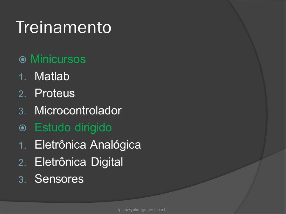 Treinamento  Minicursos 1. Matlab 2. Proteus 3. Microcontrolador  Estudo dirigido 1. Eletrônica Analógica 2. Eletrônica Digital 3. Sensores lpem@yah