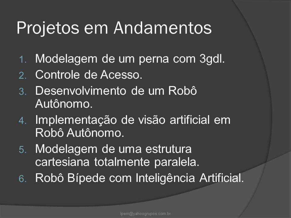 Projetos em Andamentos 1. Modelagem de um perna com 3gdl. 2. Controle de Acesso. 3. Desenvolvimento de um Robô Autônomo. 4. Implementação de visão art