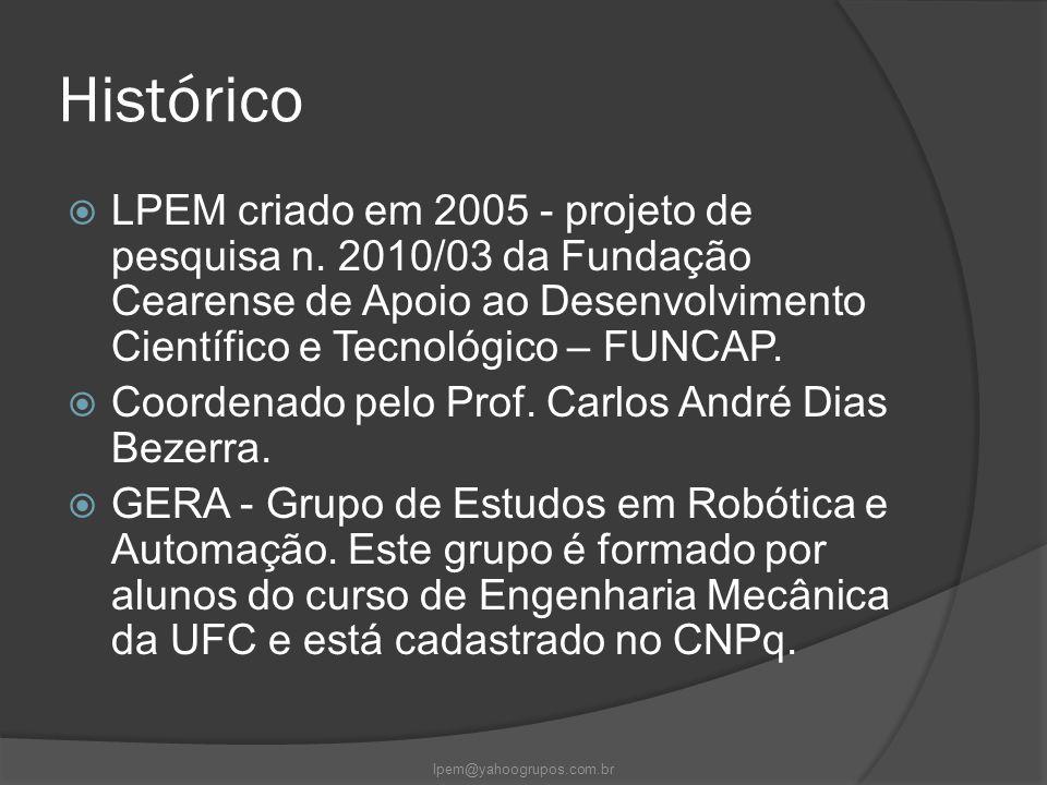 Histórico  LPEM criado em 2005 - projeto de pesquisa n. 2010/03 da Fundação Cearense de Apoio ao Desenvolvimento Científico e Tecnológico – FUNCAP. 