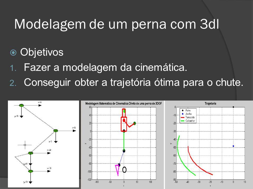 Modelagem de um perna com 3dl  Objetivos 1. Fazer a modelagem da cinemática. 2. Conseguir obter a trajetória ótima para o chute. lpem@yahoogrupos.com