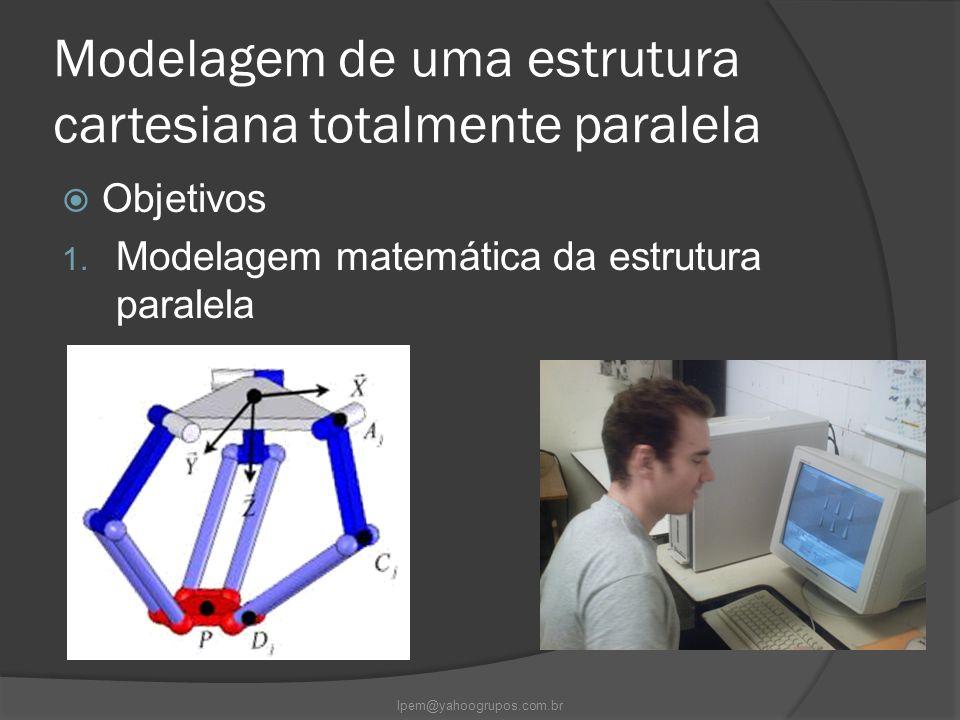 Modelagem de uma estrutura cartesiana totalmente paralela  Objetivos 1. Modelagem matemática da estrutura paralela lpem@yahoogrupos.com.br