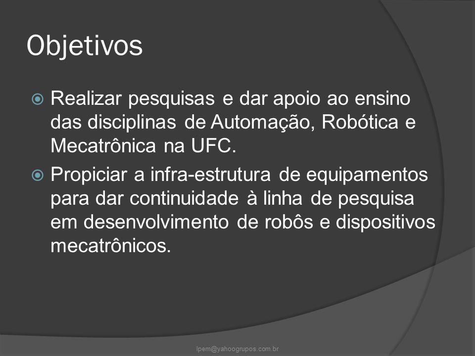 Objetivos  Realizar pesquisas e dar apoio ao ensino das disciplinas de Automação, Robótica e Mecatrônica na UFC.  Propiciar a infra-estrutura de equ
