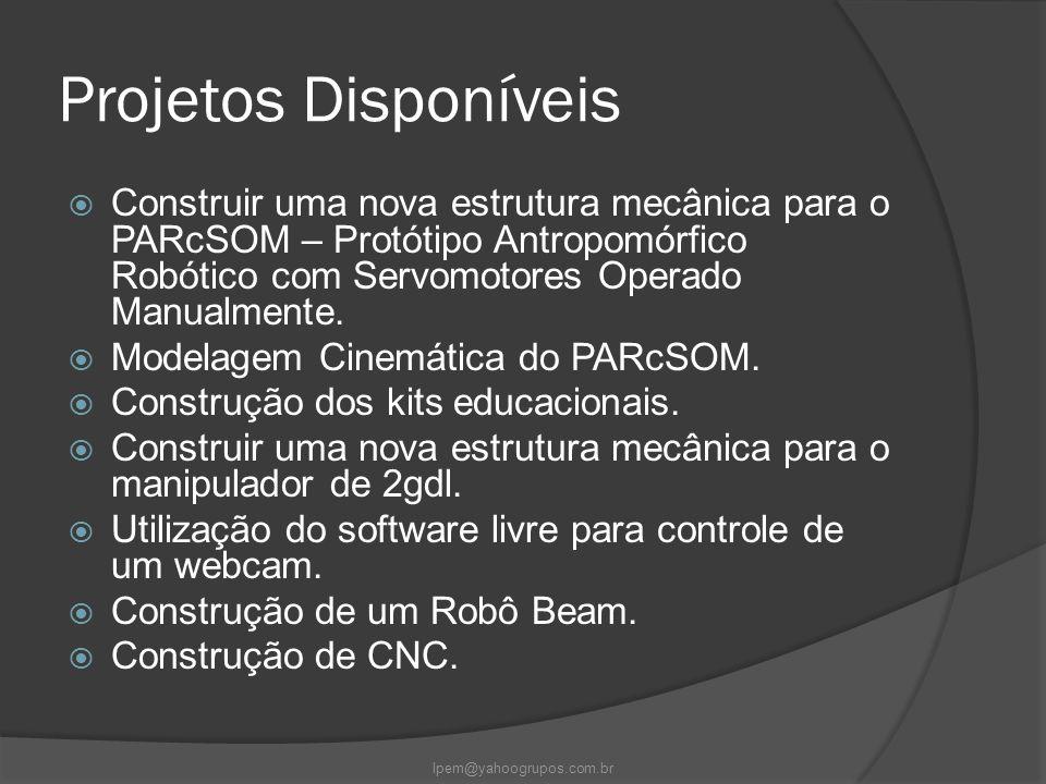Projetos Disponíveis  Construir uma nova estrutura mecânica para o PARcSOM – Protótipo Antropomórfico Robótico com Servomotores Operado Manualmente.