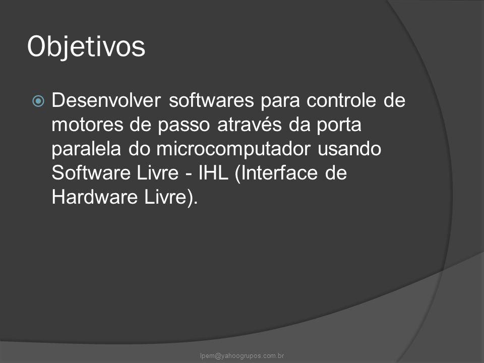 Objetivos  Desenvolver softwares para controle de motores de passo através da porta paralela do microcomputador usando Software Livre - IHL (Interfac