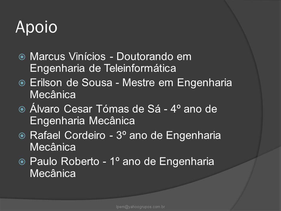 Apoio  Marcus Vinícios - Doutorando em Engenharia de Teleinformática  Erilson de Sousa - Mestre em Engenharia Mecânica  Álvaro Cesar Tómas de Sá -