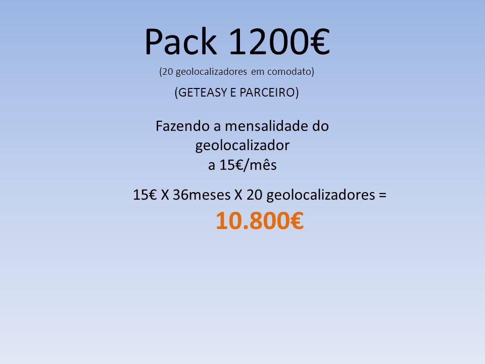 Pack 1200€ (20 geolocalizadores em comodato) (GETEASY E PARCEIRO) Fazendo a mensalidade do geolocalizador a 15€/mês 15€ X 36meses X 20 geolocalizadores = 10.800€