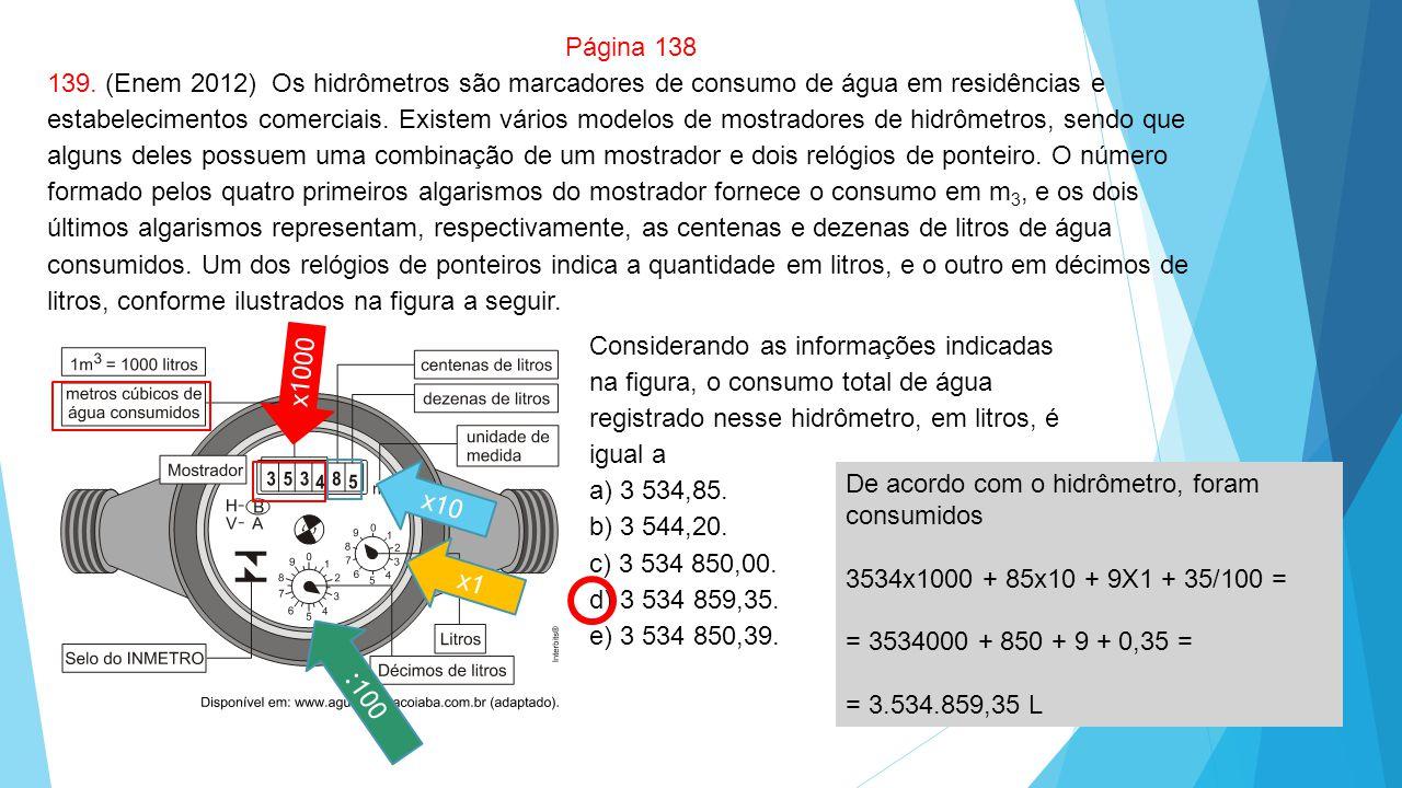 Página 138 139. (Enem 2012) Os hidrômetros são marcadores de consumo de água em residências e estabelecimentos comerciais. Existem vários modelos de m