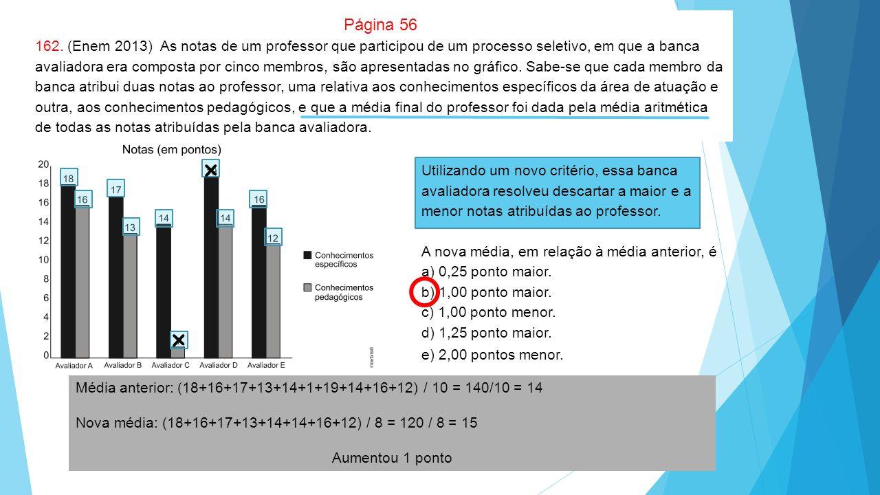 Página 56 162. (Enem 2013) As notas de um professor que participou de um processo seletivo, em que a banca avaliadora era composta por cinco membros,