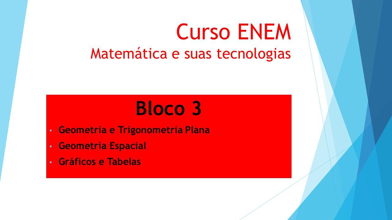 Curso ENEM Matemática e suas tecnologias Bloco 3 Geometria e Trigonometria Plana Geometria Espacial Gráficos e Tabelas