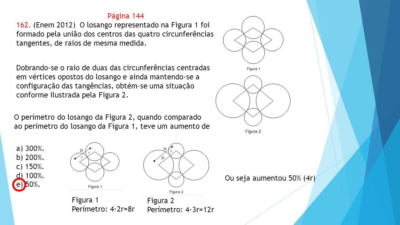 a) 300%. b) 200%. c) 150%. d) 100%. e) 50%. Página 144 162. (Enem 2012) O losango representado na Figura 1 foi formado pela união dos centros das quat