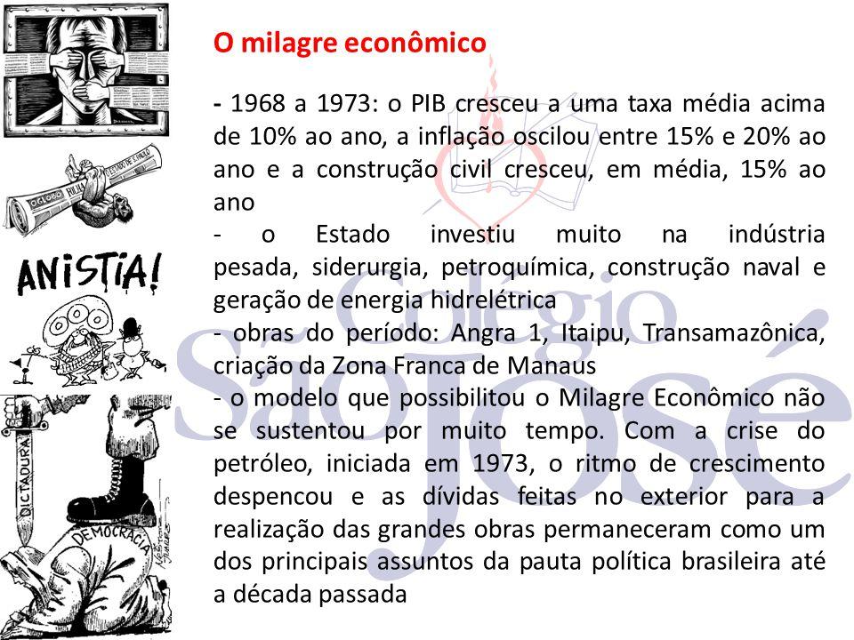 O milagre econômico - 1968 a 1973: o PIB cresceu a uma taxa média acima de 10% ao ano, a inflação oscilou entre 15% e 20% ao ano e a construção civil