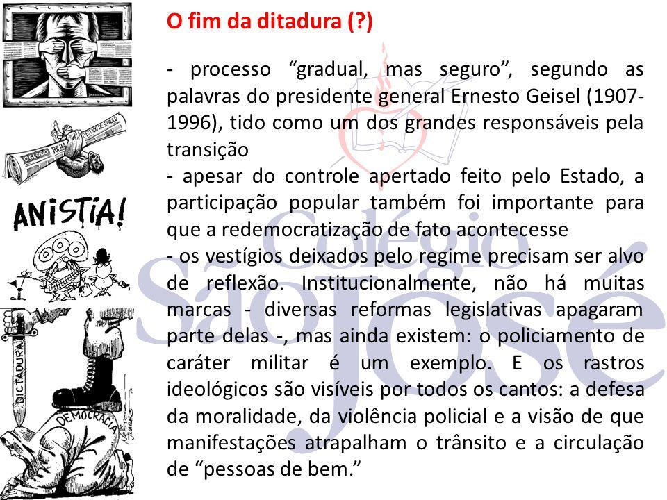 """O fim da ditadura (?) - processo """"gradual, mas seguro"""", segundo as palavras do presidente general Ernesto Geisel (1907- 1996), tido como um dos grande"""