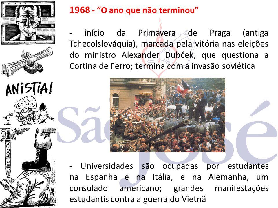 """1968 - """"O ano que não terminou"""" - início da Primavera de Praga (antiga Tchecolslováquia), marcada pela vitória nas eleições do ministro Alexander Dubč"""
