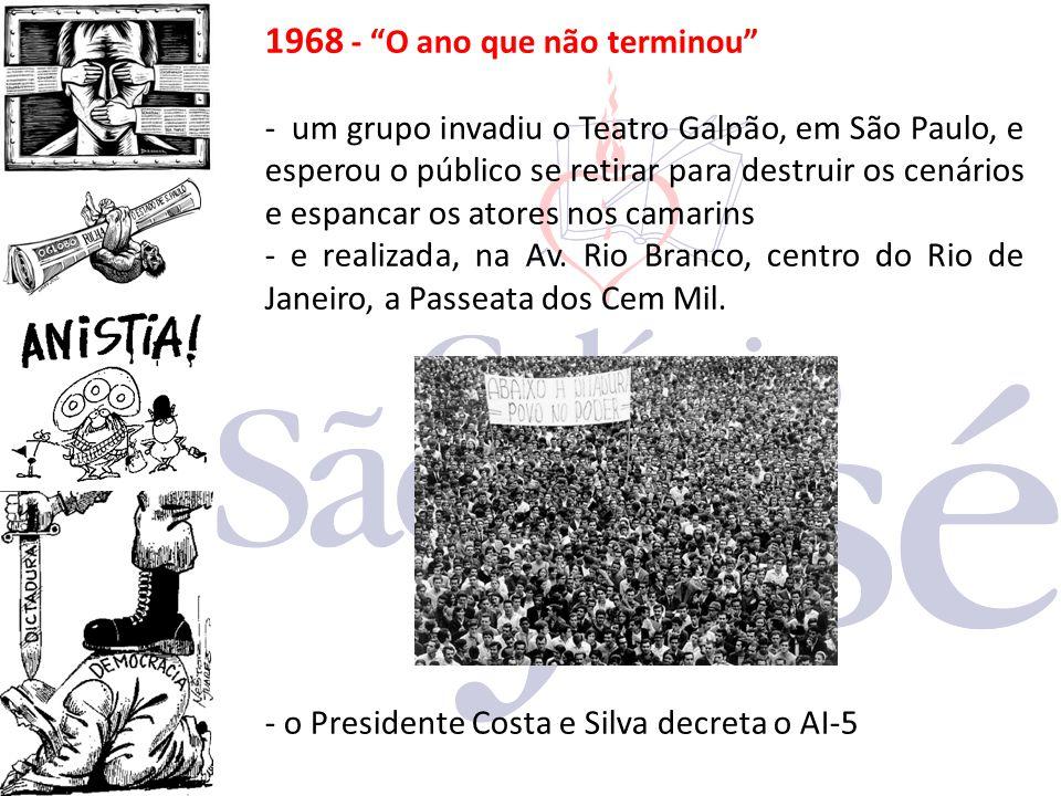 """1968 - """"O ano que não terminou"""" - um grupo invadiu o Teatro Galpão, em São Paulo, e esperou o público se retirar para destruir os cenários e espancar"""